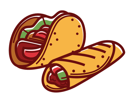 Crispy taco and buriito in pita bread isolated illustration