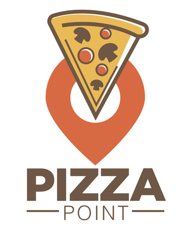 Pizza point cafe promotional logotype with piece of Italian dish
