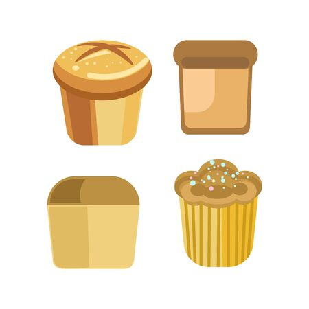 Bakery bread pastry sorts of wheat rye bagel cake vector flat icons