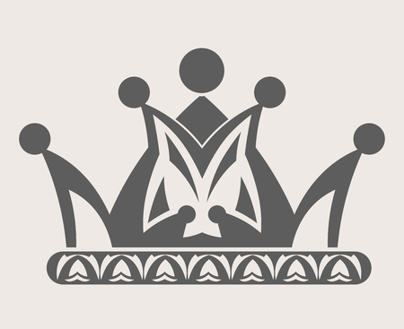 Crown royal diadem or heraldic tiara with pattern ornament vector isolated icon Illustration
