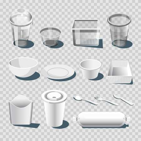 Plastic dishware or disposable tableware vector 3D isolated icons