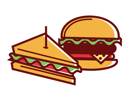 toothpick: Homemade sandwich and hamburger from fastfood isolated illustration