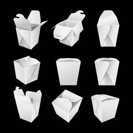 White empty paper boxes for chinese fastfood set