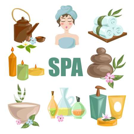 Spa body relax and woman skincare treatments vector isolated flat icons