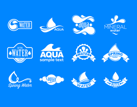 drop water: Blue logos set. Label for mineral water. Aqua icons collection.