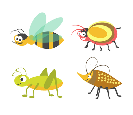 ladybird: Friendly striped wasp, ridiculous beetle with bulging eyes, vigorous green grasshopper and bug with carapace and long antennas isolated cartoon flat vector illustrations on white background.
