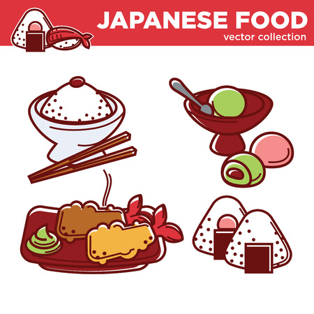 Japanese food vector collection with main courses and desserts Illustration