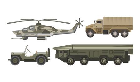 Trasporto militare con corpus corazzato illustrazioni vettoriali isolate su sfondo bianco. Elicottero di colore camuffamento, camion pesanti, auto senza tetto e veicolo enorme per i trasporti missilistici. Vettoriali