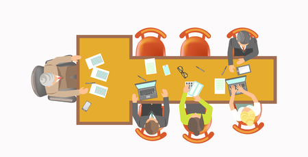 Office workers and boss of company sit at T-shape table with paper documents, stationery supplies and modern laptop isolated cartoon flat vector illustration on white background, view from top.