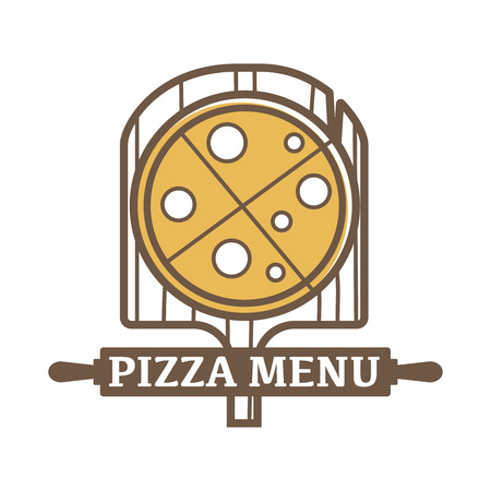 cartoon tomato: Pizza menu emblem with wooden board and sign on rolling pin isolated cartoon flat vector illustration on white background. Tasty italian cuisine promotional logotype. Delicious freshly baked dish.