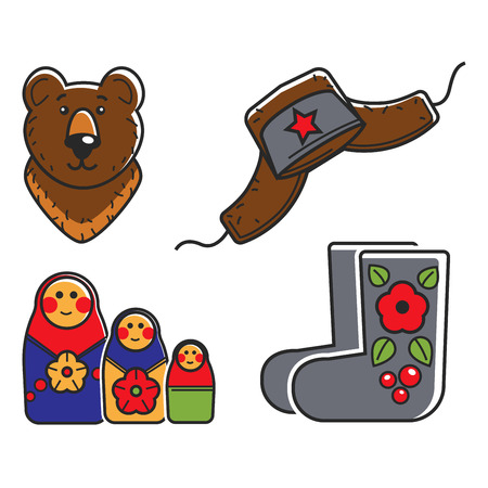 Russian traditional national symbols isolated cartoon vector illustrations set on white background. Brown bear, hat with ear flaps and red star, wooden nesting doll and felt boots with flower pattern. Illustration