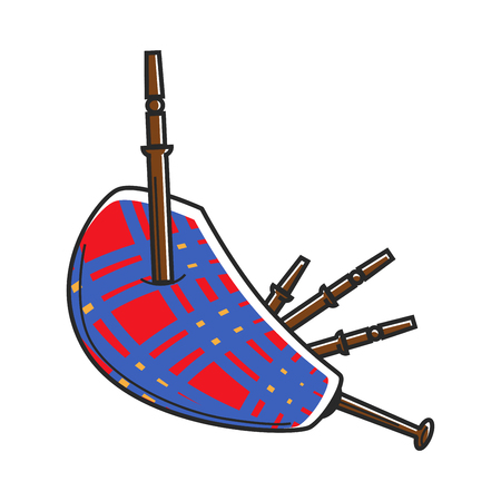 Traditional Scotland checkered loud bagpipes isolated cartoon flat vector illustration on white background. National wind musical instrument made of fabric and wooden tubes that stick out of it. Ilustração Vetorial
