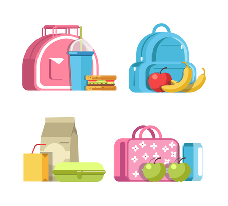 Pink bag with soda in plastic cup and homemade sandwich, rucksack with ripe apple and tasty bananas, lunch in cardboard containers and girlish briefcase with apples and can vector illustrations.