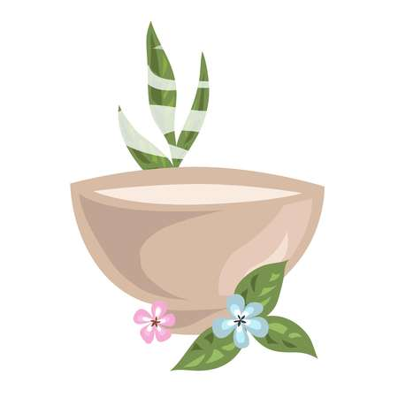 Bowl with hot cosmetical means for spa procedure and aromatic flowers with leaves around isolated cartoon flat vector illustration on white background. Liquid substance for body care and rejuvenation.