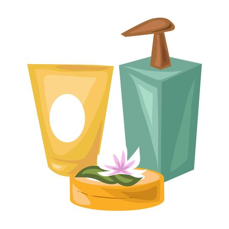Cosmetical means made of natural products for spa procedures isolated vector illustration on white background. Tube of cream, container with liquid soap, round box with lotion and lotus flower. Illustration