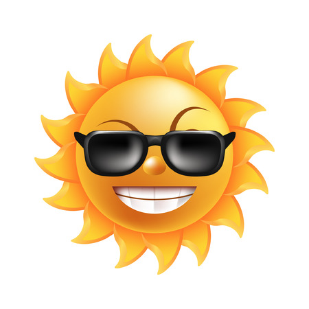 Sun with funny face, arched eyebrows, short beams, round nose, broad smile with shiny teeth in dark sunglasses isolated cartoon vector illustration on white background. Fairy tale cheerful character.