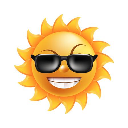 Zon met grappig gezicht, gebogen wenkbrauwen, korte balken, ronde neus, brede glimlach met glanzende tanden in donkere zonnebril geïsoleerde cartoon vectorillustratie op witte achtergrond. Sprookje vrolijk karakter.