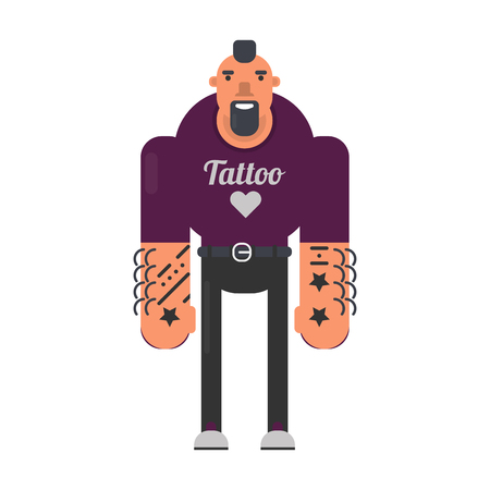 Informal man with black beard, tattoos on hands and reckless haircut in purple sweatshirt and skinny jeans isolated cartoon vector illustration on white background. Strong man with stars on body.