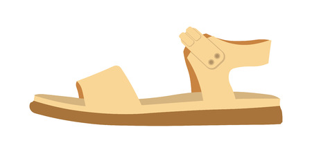 Womens comfortable casual leather sandal on flat solid rubber sole isolated cartoon flat vector illustration on white background. Summer footwear of cream color with thick belts and soft insole. Illustration
