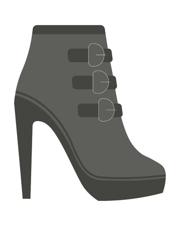 Autumn female leather half-boot with straps on high heel Illustration