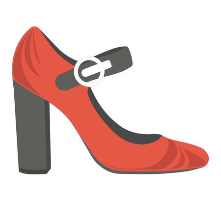 Red female shoes with thick heel and black strap Illustration