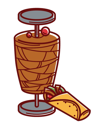 roasted: Metal stick with grilled and sliced meat and delicious shawarma with vegetables wrapped in pita bread isolated cartoon flat vector illustration on white background. Tasty Turkish unusual cuisine.