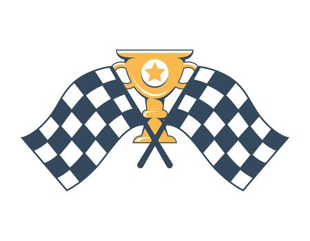 Gold cup with engraved star and handles and crossed checkered flags isolated cartoon flat vector illustration.