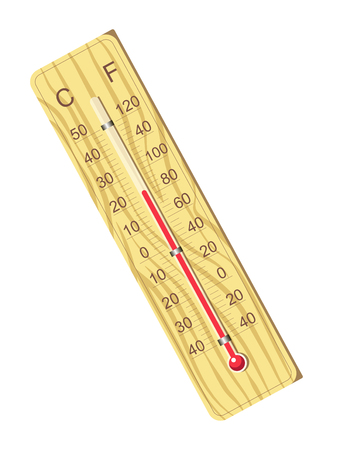 Wooden thermometer for air temperature measurement isolated vector illustration on white background. Illustration