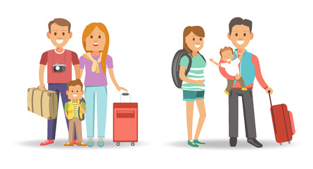 people: Family with bags and suitcases ready for journey. Man with camera, red head woman, little boy with rucksack, wife in striped dress and husband that holds baby in arms isolated vector illustrations. Illustration