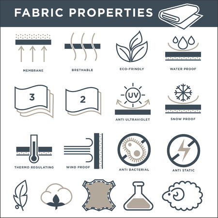 Fabric properties signs monochrome isolated minimalistic illustrations set Vectores