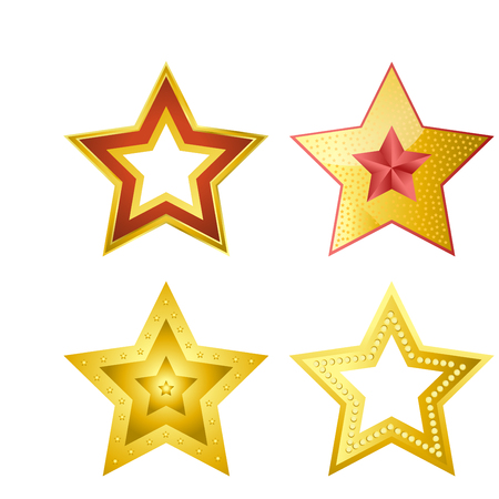 Shiny five-pointed stars of several designs illustrations set