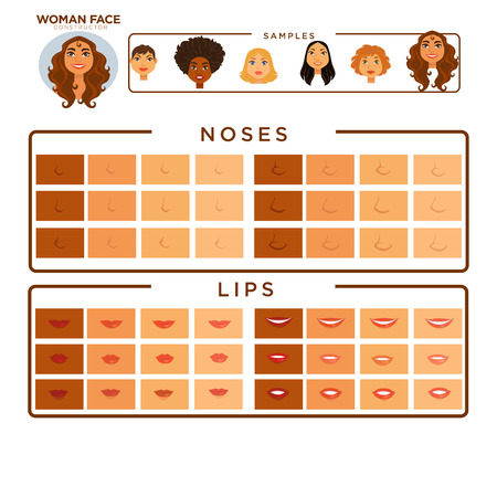 Woman face constructor with samples of noses and lips