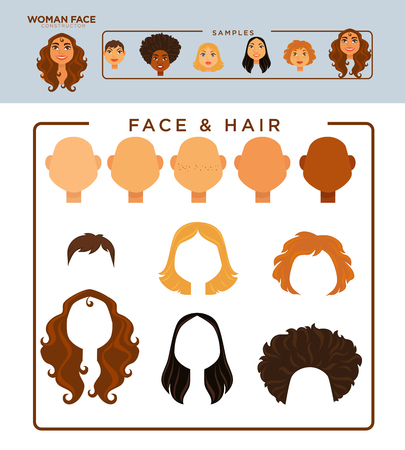 skin tones: Woman face constructor with samples of heads and hairstyles