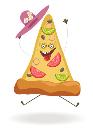 Triangular pizza slice with ridiculous face, open mouth with pulled out tongue and hat decorated with flowers isolated cartoon vector illustration on white background. Tasty bakery product character.