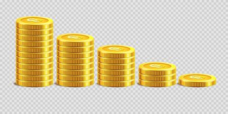 Piles of gold shiny coins placed from biggest to smallest isolated cartoon vector illustration on transparent background. Money of low value in neat row. Symbol of stable growing profit in business.