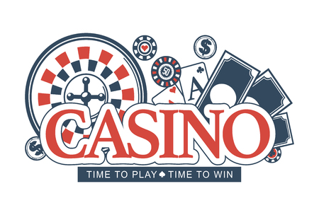 Casino, time to play and win, promotional emblem with checkered roulette wheel, striped poker chips and play cards behind big red sign isolated cartoon flat vector illustration on white background. Illustration