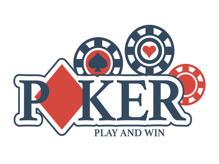 Play and win in poker promotional emblem Illustration