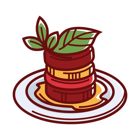 Famous French ratatouille with sauce and herbs Illusztráció