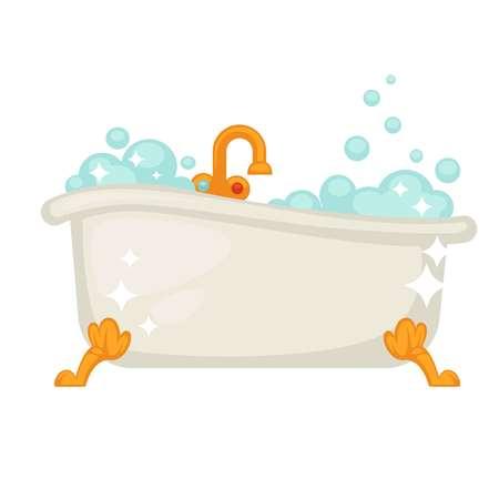 Shiny ceramic bath on golden legs full of bubbles
