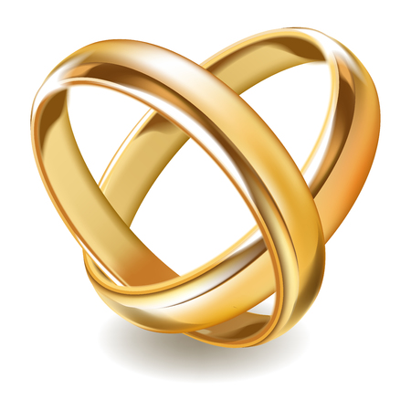 Matted shiny gold wedding rings isolated realistic illustration