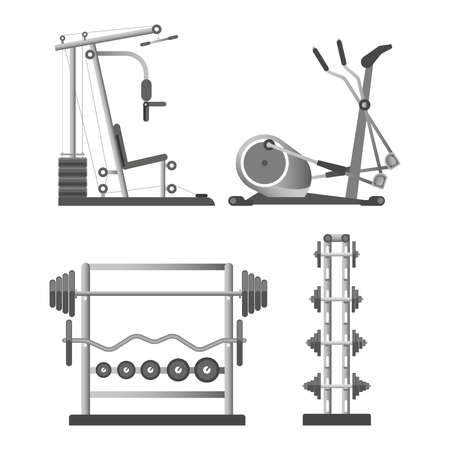 Training apparatuses and weights on stands illustrations set