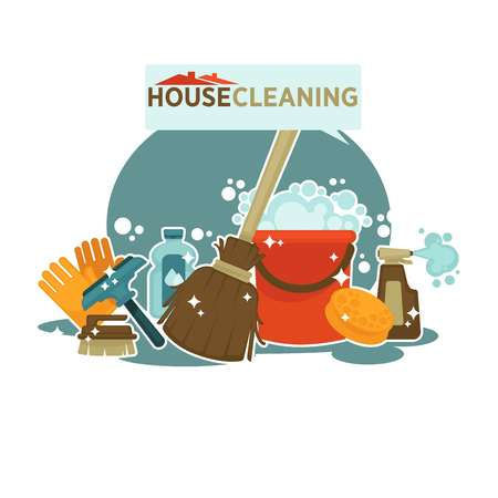 House cleaning service promotional emblem isolated cartoon illustration