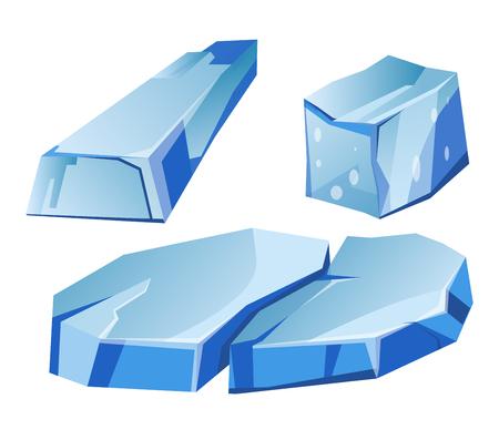 Blue transparent uneven glaciers pieces isolated illustrations set