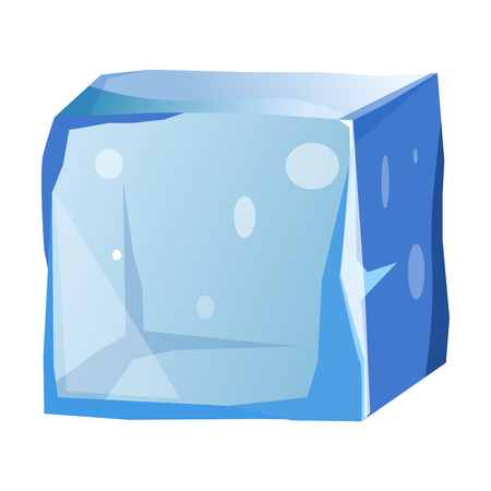 antarctica: Transparent ice cube with uneven edges isolated illustration Illustration