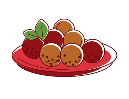 Delicious mysore bonda on red plate isolated illustration