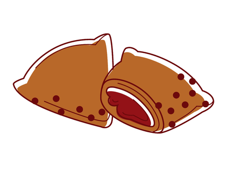 chutney: Tasty Indian samosa with filling isolated cartoon illustration