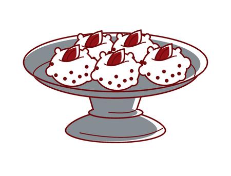 marmalade: Sandesh with marmalade on metal plate isolated illustration