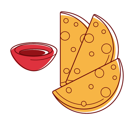 Tasty crispy chapati with bowl of sauce isolated illustration Illustration