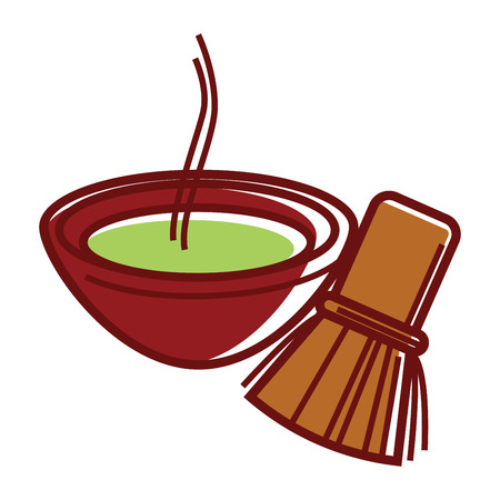 Matcha tea in bowl with bamboo tea whisk Illustration