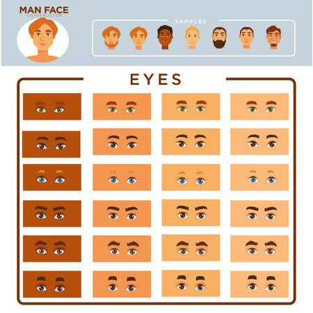 Man face constructor with samples and eyes set
